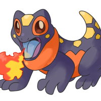 <b>1st April 2016 - Skindle</b><br>On this April fool's day prank, I used both my old fakemon as inspiration and various cool lizards I'd researched. This friend is based on a fire skink! I'd love to revisit it someday and rework it to be even better - as it is, it may be too direct a translation of the original animal, particularly in its facial features. It may seem off, but we can learn!