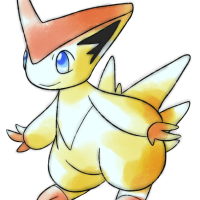 <b>30th October 2016 - Oldie Victini</b><br>This is another one of my big favourites, out of all the old-style drawings I've made! I was heavily inspired by some of Mew's old art, and used that inspiration to create what Victini <em>could</em> have looked like were it actually designed in the first generation. I feel that I really nailed the style on this one, and that it looks astoundingly retro.