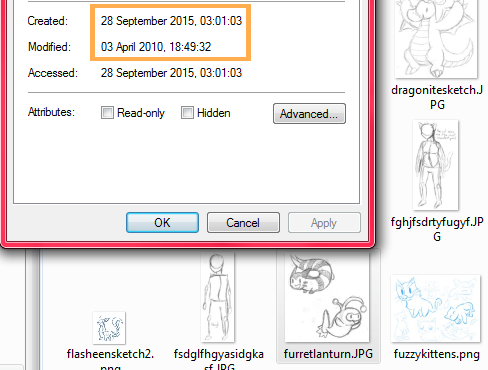 An image of my old doodle folder, where the files seem to have been created on 28th September 2015 but were actually made in 2010, as shown by the modified date.