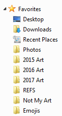A picture of the sidebar in Windows' file viewing interface, featuring my folders.
